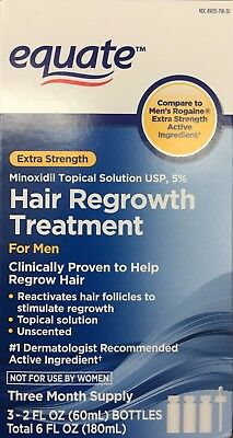 Equate Men's Hair Regrowth Topical Solution 5% Minoxidil. 3X2oz(60ml) -NEW-