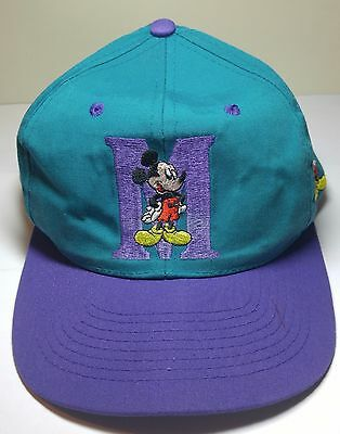 """Vintage 90's Mickey Mouse """"M"""" Teal/Purple Cap Hat"""