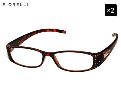 2 x Fiorelli Women's Catwalk Wendy Reading Glasses - Tortoise