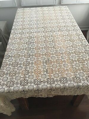 Antique Crochet TableCloth Pre 1930s, Cream Color