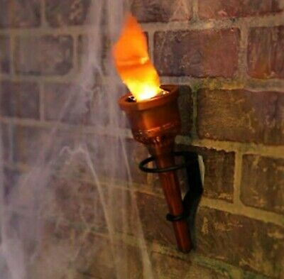 Pair 2 Torch Fake Flame Light Halloween Decor Prop Hand Held or Wall Mounted ...