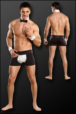 Male Power Butler Costume Boxer Short Cuffs & Bow Tie