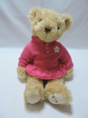 "FAO Schwarz Teddy Bear Plush Stuffed Animal Tan Pink Dress Shaggy 15"" Toy"