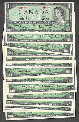 1867 1967 $1.00 BC-45a CH AU-UNC EPQ Bank of Canada Centennial Paper One Dollar