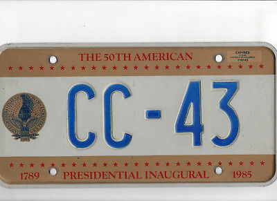 50th Presidential Inaugural License Plate - 1985