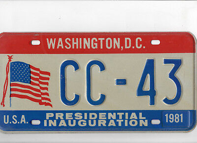 1981 Presidential Inaugural License Plate - Districe of Columbia - Mint