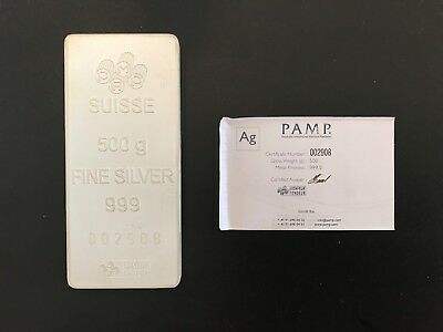 500 Gram Pamp Suisse Silver Bar #002908 with certificate