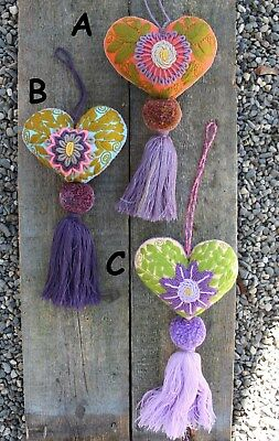 Lg Heart Tassel Pom Pom Hand Embroidered SOLD SEPERATELY! Mayan Mexican Folk Art
