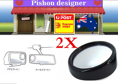 2 Car Rear View Blind Spot Mirror Convex Wide Angle Mirror Adjustable Small Size