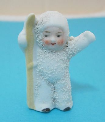 Germany Snow Baby 1920's Snowbaby w Ski Waving Antique Real IN Good Shape D1