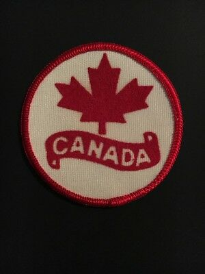 Vtg Maple Leaf Canada Patch, Canada Circle Sew On Patch 2.5 Inch Diameter