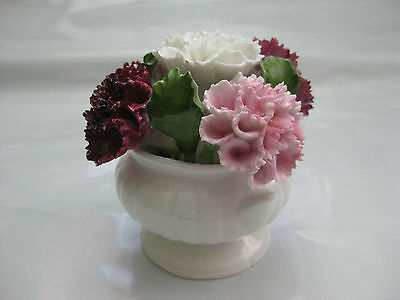"Aynsley ""August"" Carnation Bowl, Hand Modelled, Hand Painted Fine Bone China"
