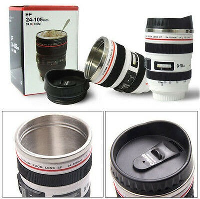 Camera Lens Stainless Steel Cup 24-105 Coffee Tea Travel Mug Thermos&Lens Lid EA