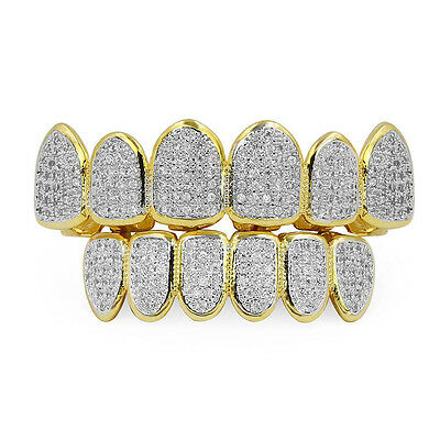 18K Gold  Silver Plated  Micro Pave Top Bottom CUSTOM  SET Mouth Teeth Grills EA