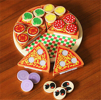 Wooden Pizza Play Food Set Wooden Toy Kids Pretend Kitchen Childrens Cooking EA