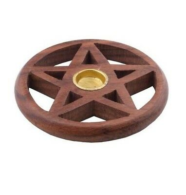 PENTAGRAM INCENSE STICK CONE MINI CANDLE HOLDER Cleansed/Blessed Wicca incense