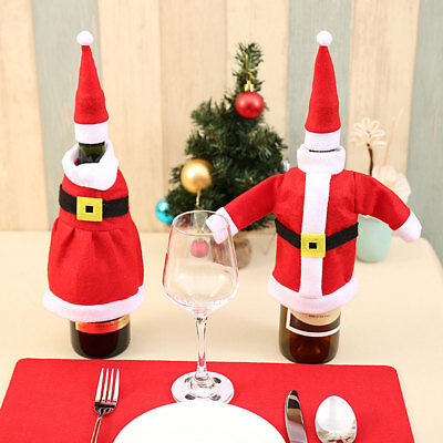 Red Wine Bottle Cover Xmas Bags Cap Hat Cloth Decor Dinner Table Christmas Santa