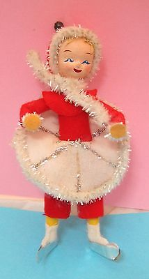 Vintage Christmas Skating Girl In Red Snow Suit Ornament Fabric & Paper   T38