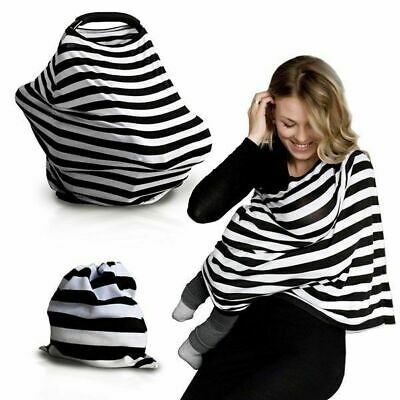 BREASTFEEDING COVER Cotton White Black Grey Light Pink Stripes Nursing Maternity