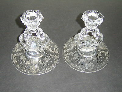 Pair #3400/646 Cambridge Glass Etched DIANE Keyhole Candlestick Candle Holders