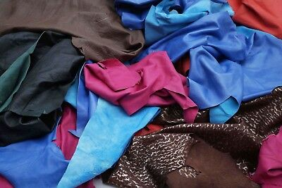 Assorted Color Garment soft lambskin 2 - 3 hands Scrap leather pieces/off cuts