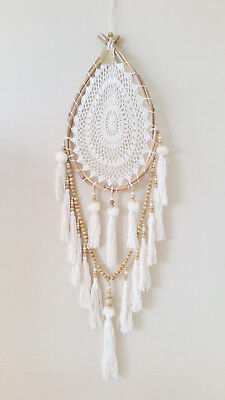 Dream Catcher Tear Drop with Pom Pom and Wood Beads Wall Hanging 32cm from Bali
