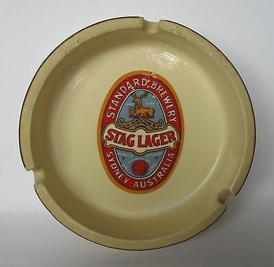 Tooheys Stag Lager Beer vintage label glazed cigarette ashtray for home or bar