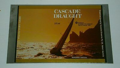 Cascade Draught Beer 1981 unrolled steel flat can for home bar, pub or collector