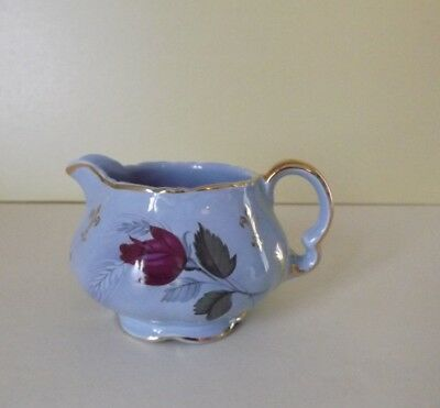 Vintage Small Blue Jug Decorated with Roses & Gold Fleur De Lis (66,150)
