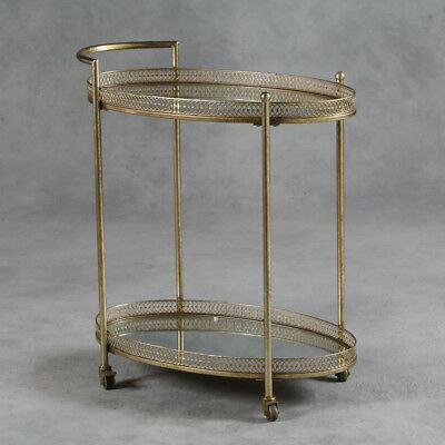 Antique Gold Serving Drinks Metal Trolley with Mirrored Shelves 87 x 78 x 47cm