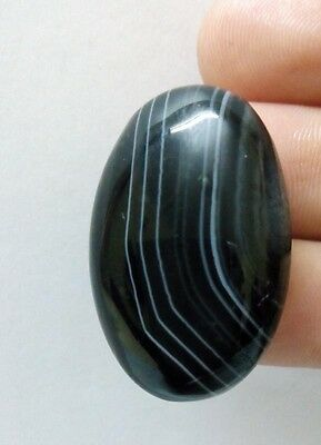 31.60Cts White Striped Black Natural Agate Oval Designer Cabochon Gemstone 1094