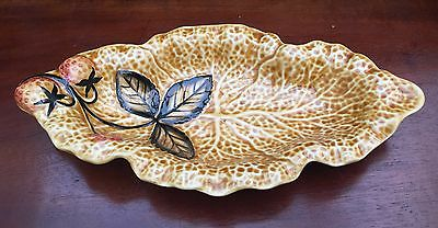 Shorter & Son Cabbage Leaf Design Dish With Strawberry Detail