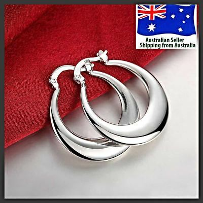 925 Sterling Silver Filled Crescent Moon Round Hoop Earring Women Jewellery Girl