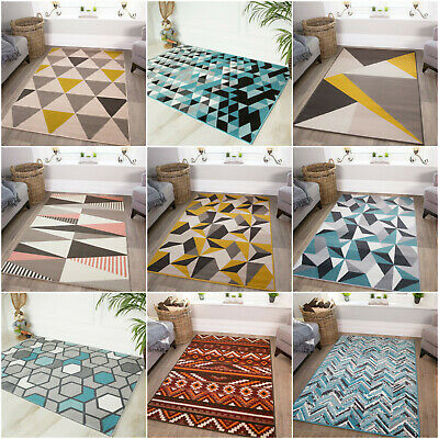 Modern Nordic Geometric Rug Ochre Yellow Grey Striped Cheap Living Room Rugs NEW