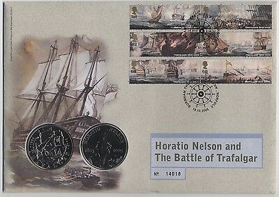 2005 Trafalgar £5 Coin & Stamp FDC***Collectors***