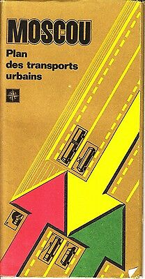 Moscow Plan Des Transports Urbains Russia Vintage Map 1988