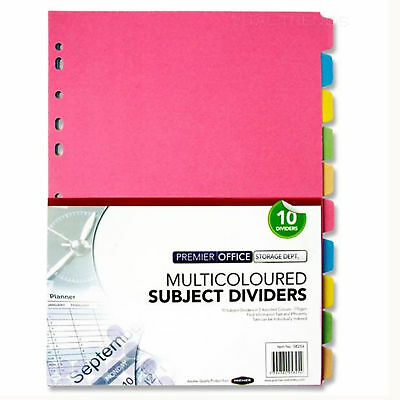 File Subject Dividers Multicoloured 10 Part Office Ring Binder Tab Divider - A4