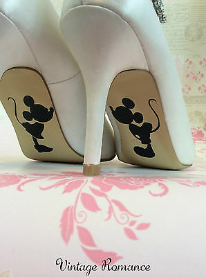 Mickey and Minnie Mouse Disney Wedding Bride Shoe Sole Vinyl Decals Stickers
