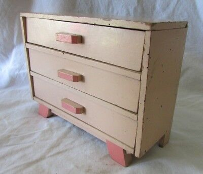 VINTAGE FRENCH PALE PINK BABY DOLLS WOODEN 3 CHEST OF DRAWERS c1950's