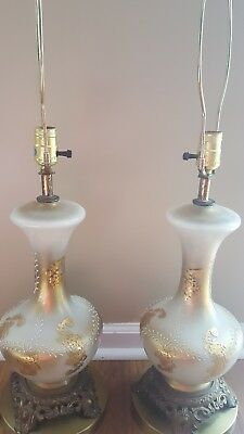 Vintage Pair (2) Opaque Glass Urn Table Lamps Retro Mid Century, Hollywood