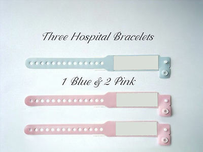 3 Hospital Id Bracelets  Pink & Blue  For Your Reborn Doll