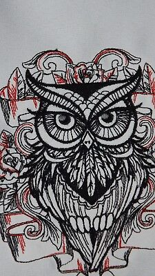 Black with red owl embroidery block