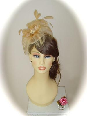 Mother of Bride Ascot Occasion Wedding Gwyther Snoxell Fascinator, Golds