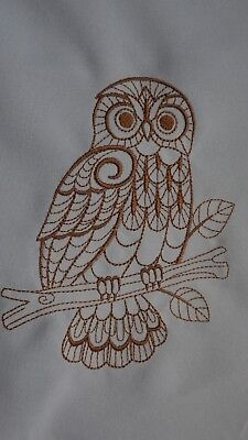 Brown owl on branch embroidery block