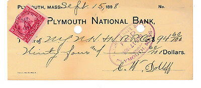 1898 Plymouth National Bank, , Massachusetts   W/revenue Stamp