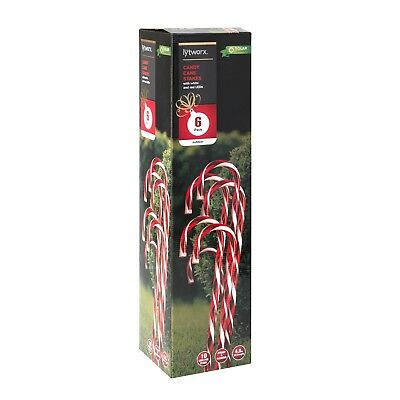 Lytworx Solar Candy Cane Stakes - 6 Pack garden christmas lights night bright