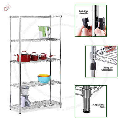 Real Chrome Wire Rack Metal Steel Kitchen Garage Store Shelving Shelf Racks