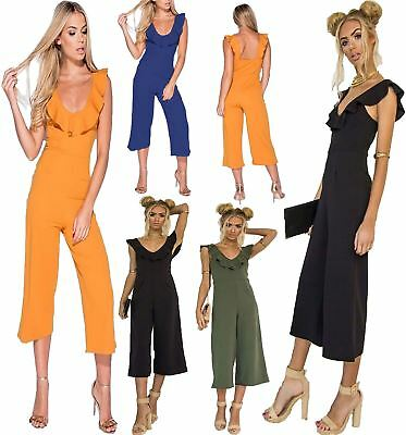 Ladies Culotte Playsuit Frill Strap Cropped Wide Leg All In One Womens Jumpsuit