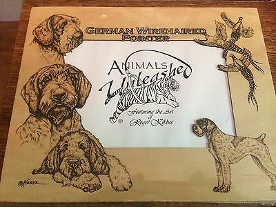 German Wirehaired Pointer  Laser Engraved Birch Frame Mattes by Roger Kibbee