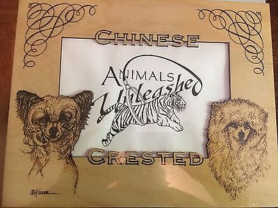 Chinese Crested Laser Engraved Birch Frame Mattes by Roger Kibbee